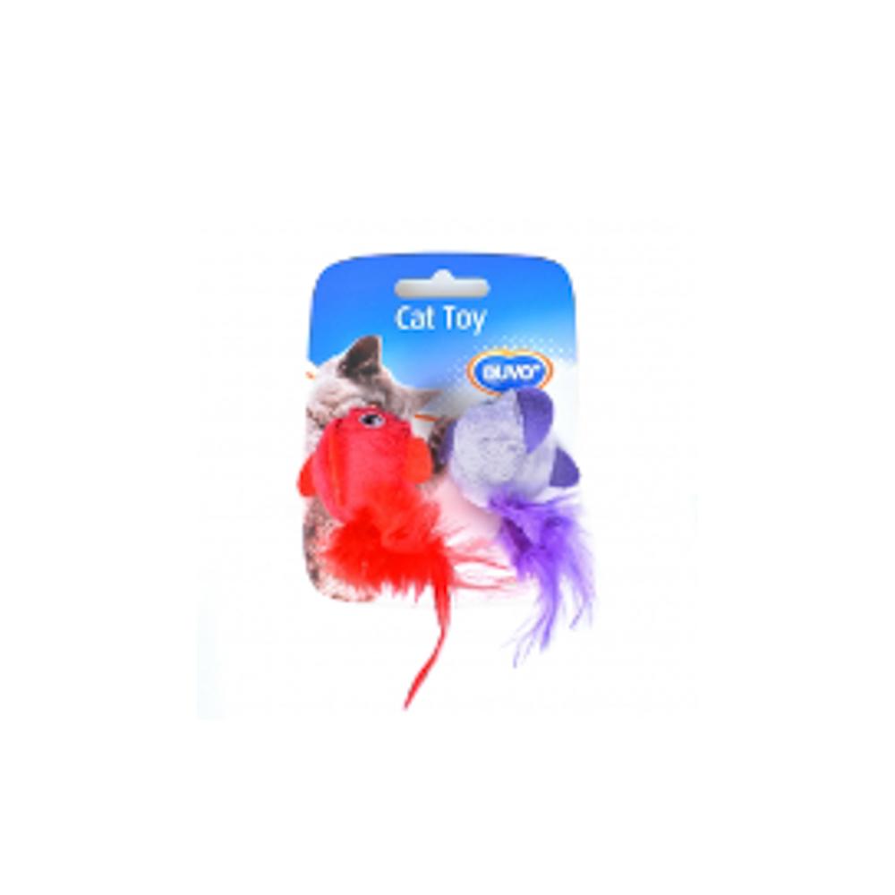 Duvo kattenspeelgoed vogel met veren