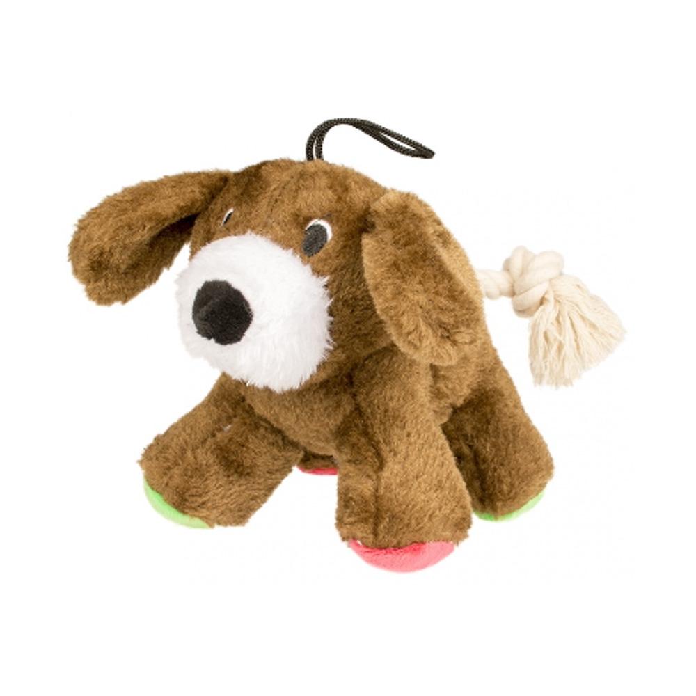 Duvo Pluche Hond met Flostouw staart 17cm